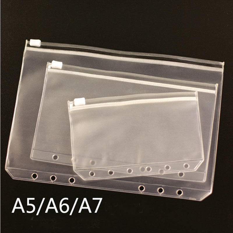 Transparent PVC Storage Bag For Traveler's Notebook Diary Day Zipper Bag Business Cards Notes Pouch Planner Notebook Accessories