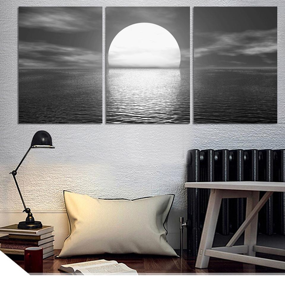 3 Kusy / sada nástěnné umění Moře úplněk v noci domácí dekorace abstraktní velké plátno tištěné obrazy bez rámečku