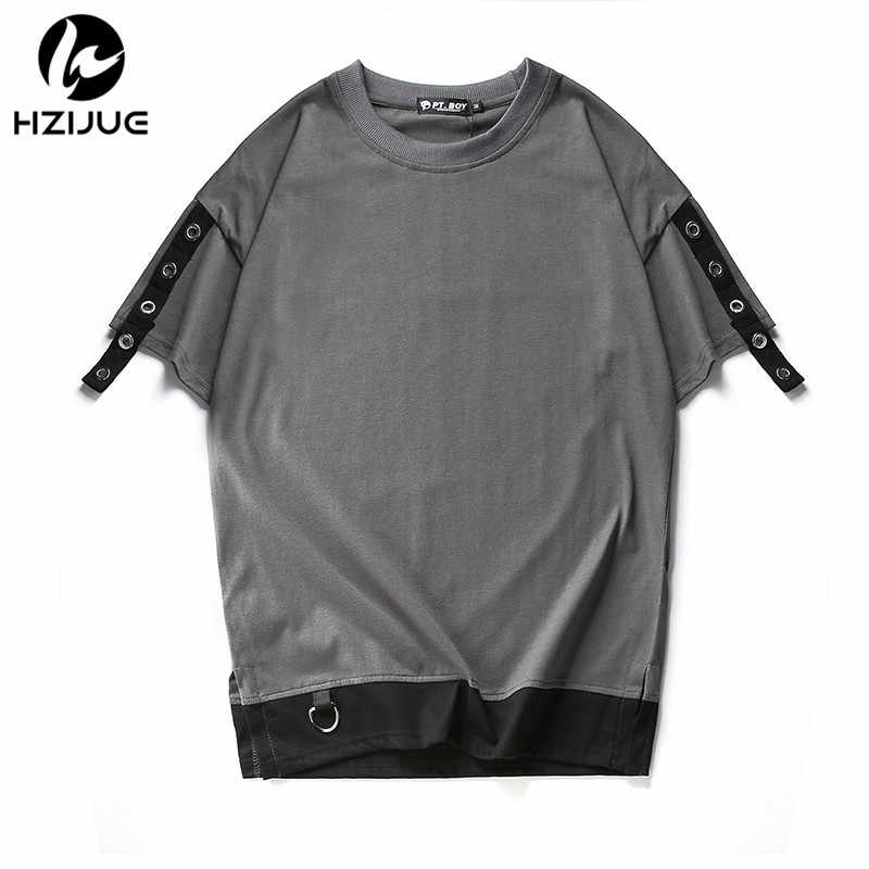 8097afe3aaa5c4 ... HZIJUE summer MEN 2018 fashion T shirt kanye west Hip hop style  Patchwork Fake two pieces ...
