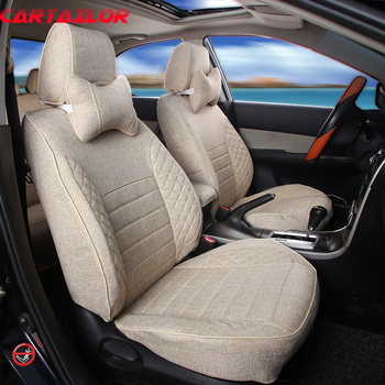 CARTAILOR Flax Car Seats Supports for Land Rover Velar 2017 2018 Seat Cover Set Linen Cloth Covers for Cars Cushion Protection
