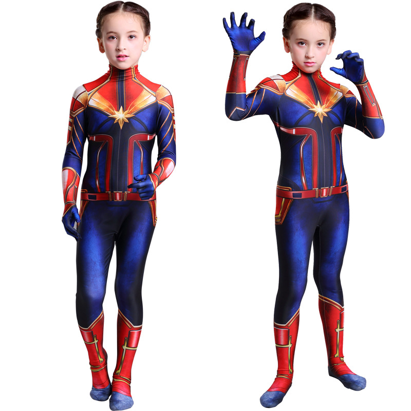 2019 New Cosplay Costume  Women Girls Movie Version Captain Marvel Carol Danvers Cosplay Costume Zentai Superhero Bodysuit Suit