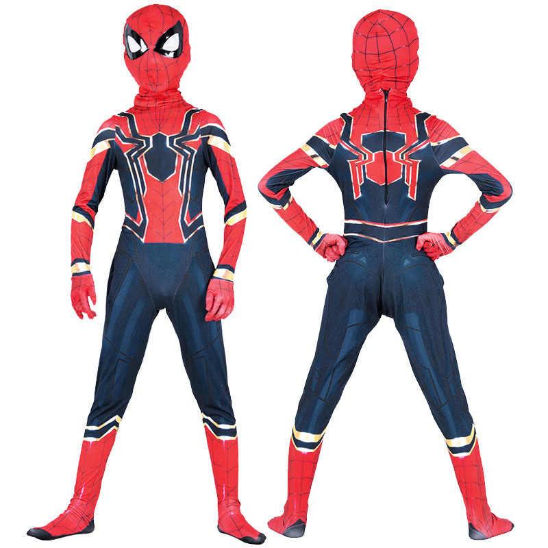 Traje de araña de hierro para niños y niños Spiderman traje de araña para fiesta de bienvenida Cosplay Zentai traje de superhéroe Avengers traje mono
