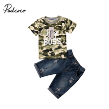 2018 Brand New Infant Toddler Child Kids Baby Boy Summer Clothes T-Shirts Tee Camo Tops Denim Pants 2Pcs Summer Outfits Set 1-6T