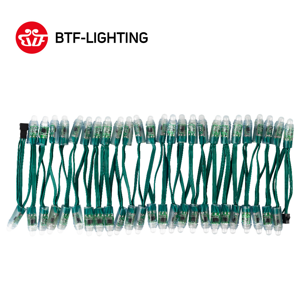 50pcs/100pcs WS2811 DC 5V/12V 12mm LED Module,Black/Green/White/RWB Wire String Christmas Light; Addressable,IP68 Waterproof
