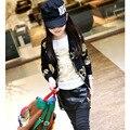 Куртка девушка детская одежда и аксессуары девушки пальто Детей куртка Девушки печати золотой череп молния кардиган E691