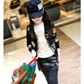 Menina jaqueta de roupas e acessórios das Crianças jaqueta casaco casaco Infantil da menina Meninas de ouro da cópia do crânio zipper cardigan E691