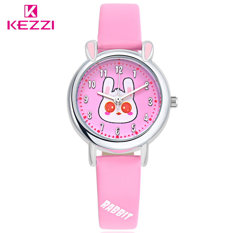 KEZZI Brand Original Waterproof Cartoon Students Watch Adorable Pet Rabbit Eye Quartz Watch Children Watches PU Leather Strap