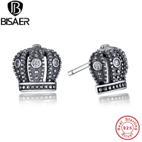 GIFT 925 Sterling Silver Royal Crown Stud Earrings Clear CZ With Clear CZ Compatible With Pandora