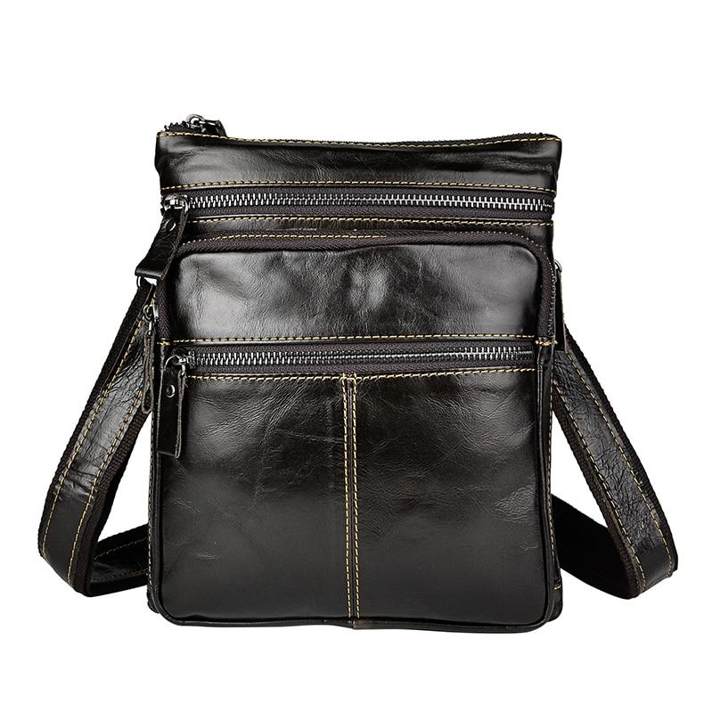Décontracté Retro hommes 8 pouces tablette téléphone sacs fantaisie en cuir véritable sac à bandoulière sacs solide couleur homme sac en cuir Packs - 3