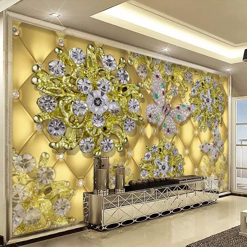 Large 3d European Pearl And Rose Jewelry Tv Background: Photo Wallpaper European Style 3D Luxury Gold Jewelry