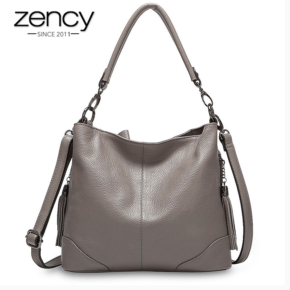 Zency 100% Genuine Leather Grey Handbag Fashion Lady Shoulder Bag With Tassel High Quality Crossbody Casual Hobos Purple Black