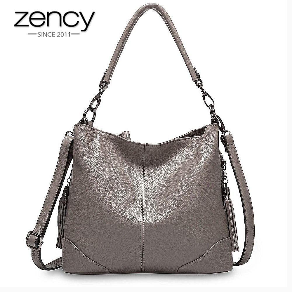 Zency 100% Genuine Leather Grey Handbag Fashion Lady Shoulder Bag With Tassel High Quality Crossbody Casual Hobos Purple Black