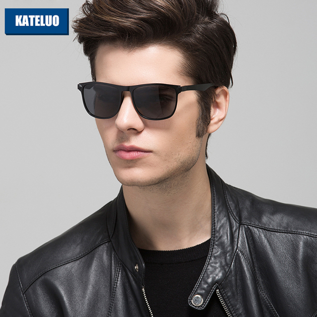 KATELUO Brand Design Sunglasses Men Al-Mg Alloy Frame Polarized Lens Driver Sun Glasses Eyewears Accessories Oculos de sol 8586