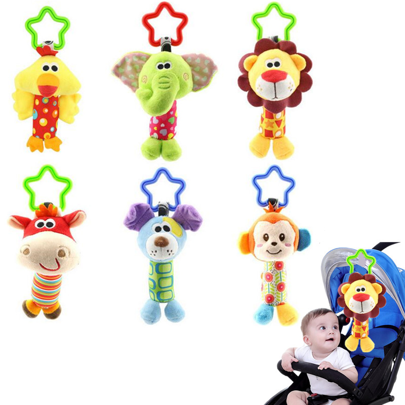 6 Styles Baby Kids Rattle Toys Cartoon Animal Plush Hand Bell Newborn Baby Stroller Crib Hanging Rattles Kawaii Baby Infant Toys