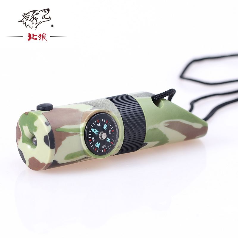 1PCS 7 In 1 Camping Survival Whistle Compass Thermometer Flashlight Magnifier For Outdoor Sports Camping Hun With Lanyard
