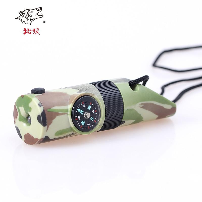 1 STK 7 i 1 Camping Survival Whistle Compass Termometer ficklampa förstoringsglas för utomhussport Camping Hun med lanyard