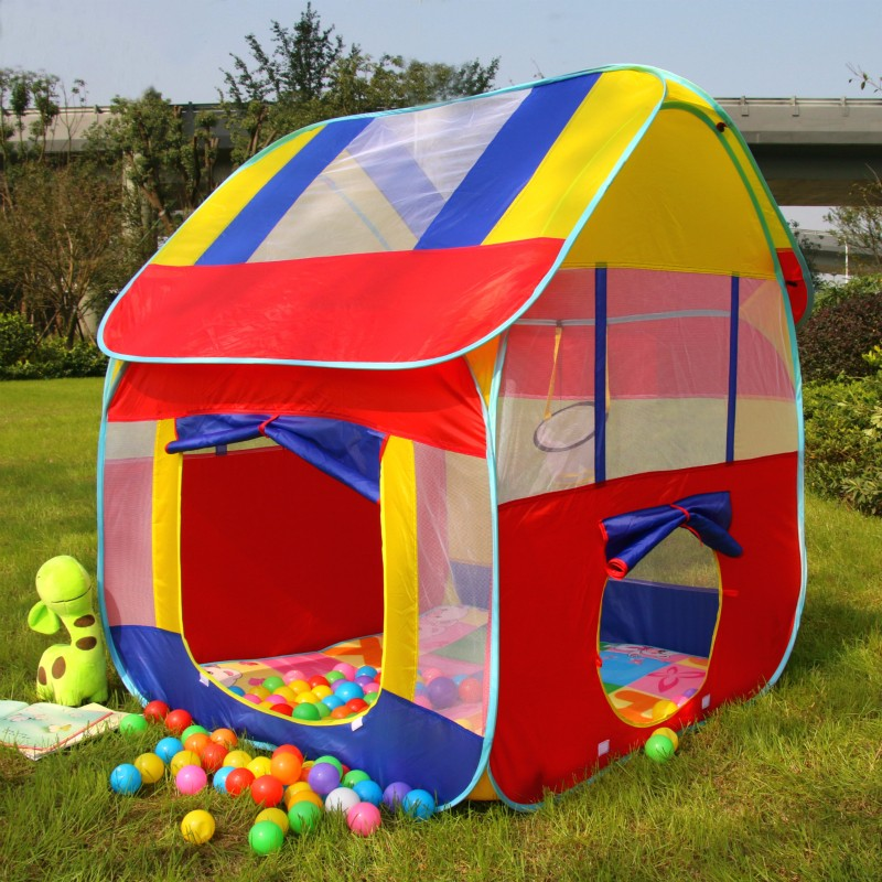 цена на New Kids Play House Tent Portable Foldable Prince Folding Tent Children Boy Castle Cubby Play House Kids Gifts Outdoor Toy Tents