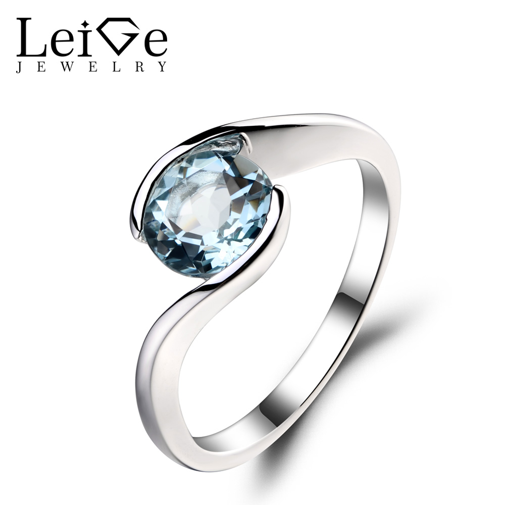 Leige Jewelry 1.3ct Natural Aquamarine Solid 925 Sterling Silver Ring Blue Fine Gemstone Birthstone Wedding Rings for Women