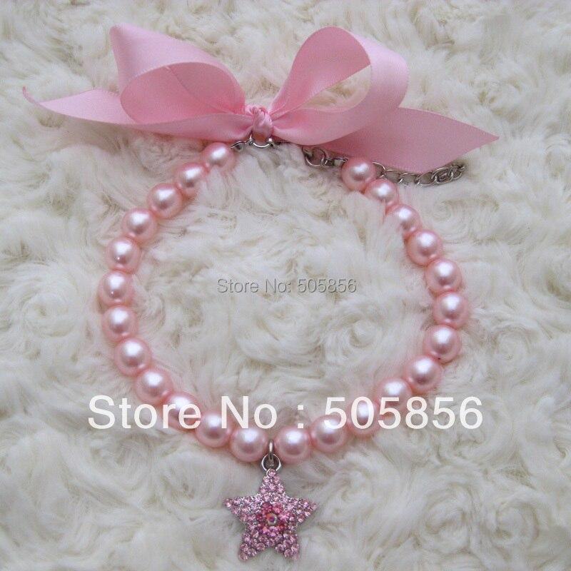 Collar rosado del collar de las perlas del animal doméstico del perro con encanto de las estrellas de los diamantes artificiales, joyería del animal doméstico