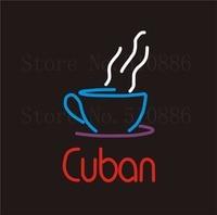 """Işıklar ve Aydınlatma'ten Neon Ampuller ve Tüpler'de NEON Burcu Küba Gerçek CAM Tüp Kedi dışkı kahve Içecek Bar PUB Restoran Tabela Ekran Mağaza Mağaza Işık Özel Işaretleri 17*14"""""""