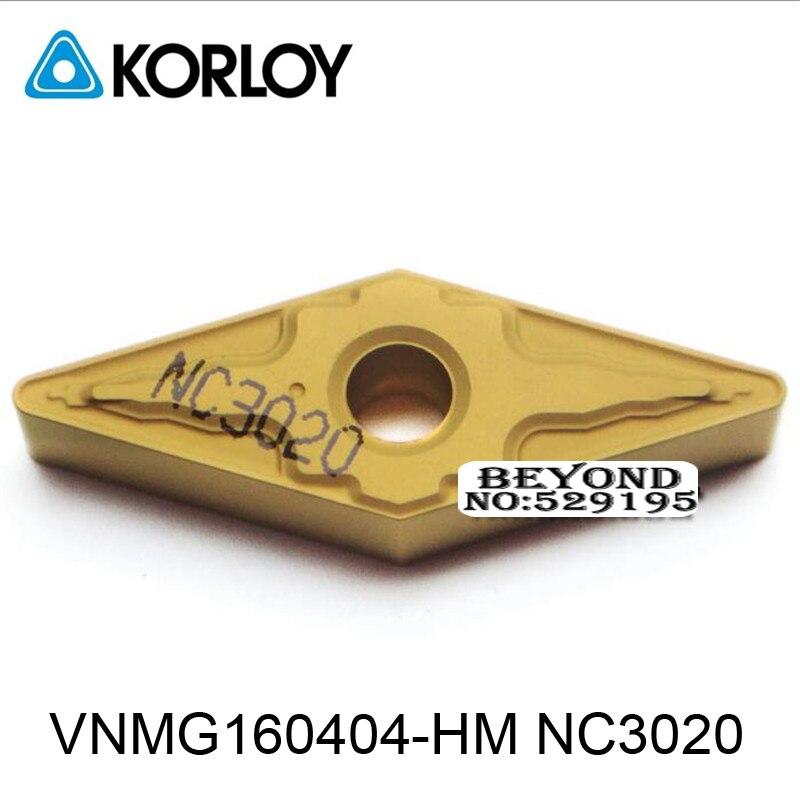 Pastilhas de Metal Ferramentas de Aço Nc3020 para Vnmg Original Korloy 160412 160408 160404 Duro Torno Vnmg160404-hm Vnmg160408-hm Vnmg160412-hm