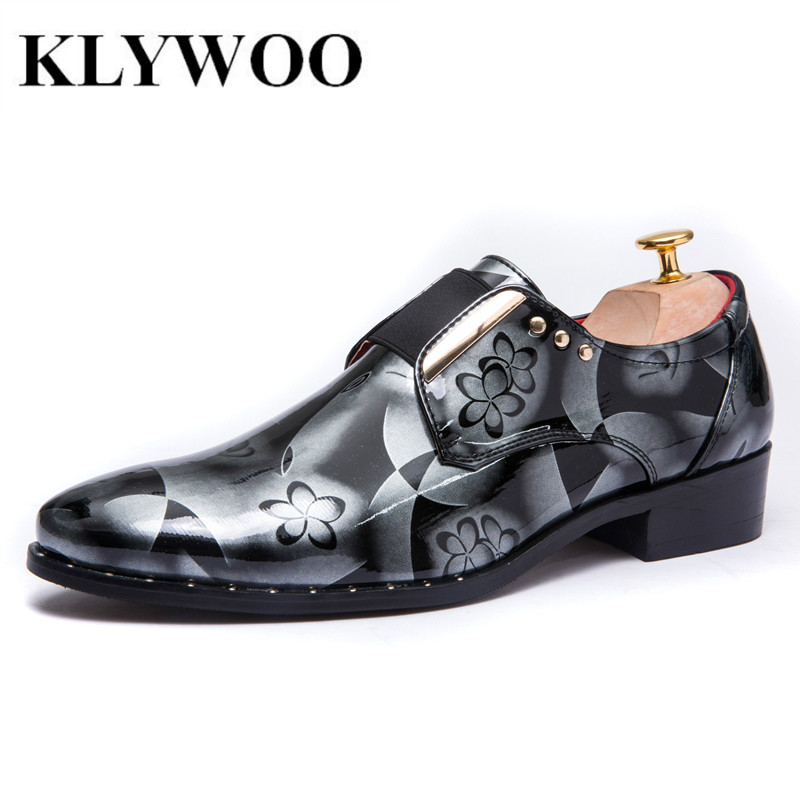 Klywoo New Floral British Style Brand Leather Fashion Men Oxford Wedding Shoes Male Pointed Toe