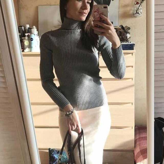 GIGOGOU Thick Turtleneck Warm Women Sweater Autumn Winter Knitted Femme Pull High Elasticity Soft Female Pullovers Sweater