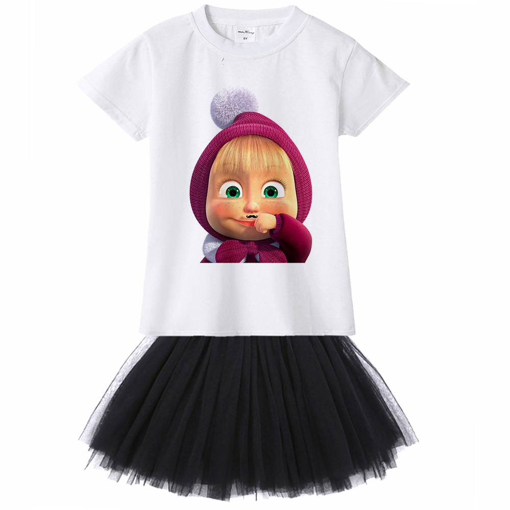 1Y To 12YMasha and Bear Kids Girl Dress Masha E O Urso (y El Oso) Toddler Girl Dress Cartoon Princess Party Casual Dress Baby