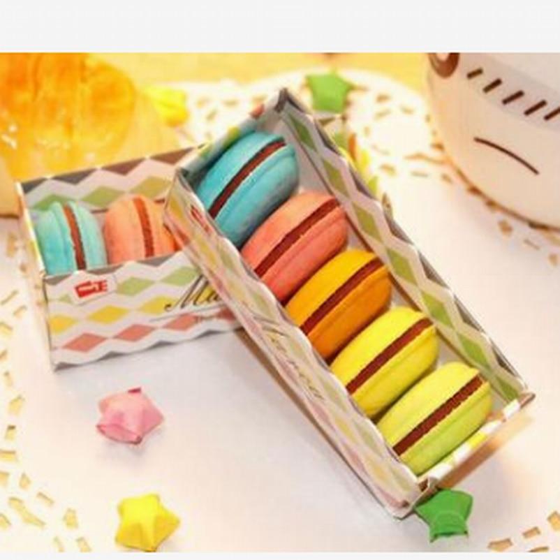 100PC/Lot Cute Macaron Rubber Eraser Creative Kawaii Stationery School Supplies Papelaria Gift For Kids