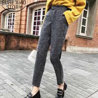 Calças femininas 2019 pantalones mujer cintura alta camisas de carga calças femininas botão voar regular casual comprimento total 2116 50