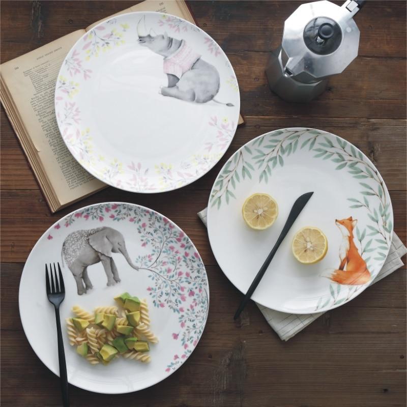 1pc 10 Inches Ceramic Dinner Plate Pastoral Animal Dinner