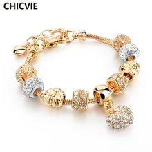 Chicvie новые браслеты золотого цвета в форме сердца и для женщин