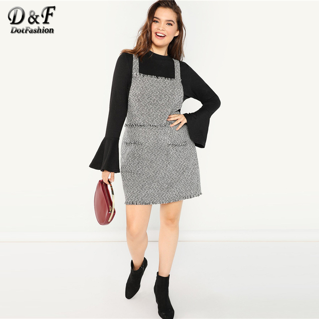 Dotfashion Plus Size Black And White Frayed Trim Tweed Pinafore Dress Women Clothes 2019 Autumn Fashion Casual Knee Length Dress 4