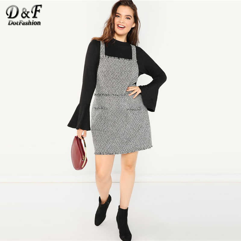 07cd145b53 Dotfashion Plus Size Black And White Frayed Trim Tweed Pinafore Dress Women  Clothes 2019 Autumn Fashion Casual Knee Length Dress