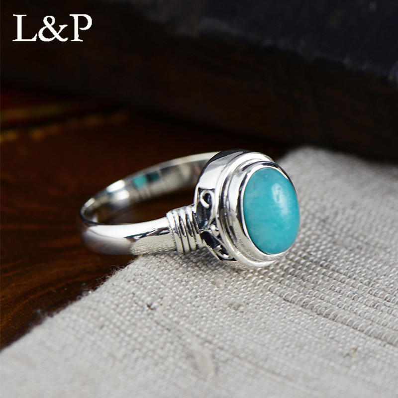 L P Vintage Real Silver Oval Turquoise Rings For Women Elegant