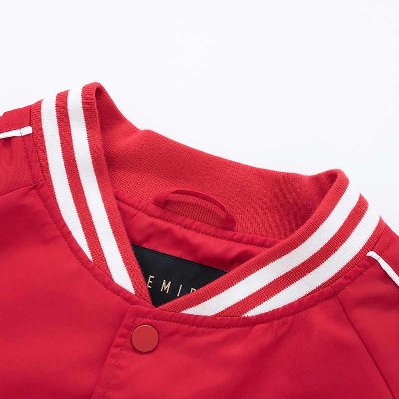 SEMIR erkekler beyzbol ceket işlemeli bombacı ceket erkekler spor ceket şerit kol Snap düğmesi ceket adam için