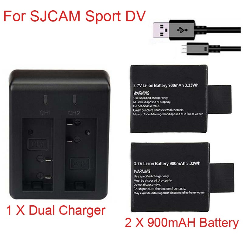 100% Newest 1pc/2pcs 3.7V 900mAh SJ4000 SJ5000 SJ6000 Battery + Dual Battery Charger For SJCAM SJ 4000 5000 Camera Accessories