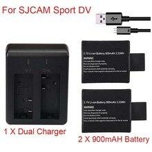 цена на 100% Newest 1pc/2pcs 3.7V 900mAh SJ4000 SJ5000 SJ6000 Battery + Dual Battery Charger for SJCAM SJ 4000 5000 Camera Accessories