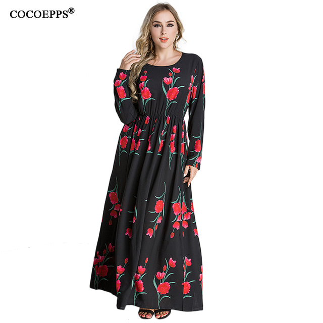 52a5b76dbac 6xl 2018 New Women Floral Print Plus Size Dress Boho Style sexy Long  clothing Large size 4XL 5XL O-neck Full Sleeve Maxi Dress