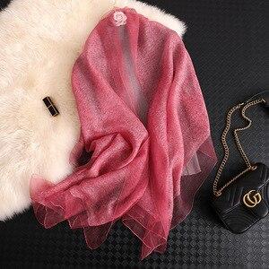 Image 5 - Foulard en soie pour femmes, Foulard solide, Pashmina, châle, grande taille, serviette de plage, Bandana, Hijab musulman, 2020