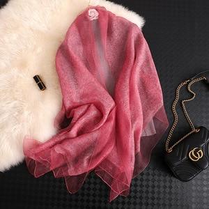 Image 5 - Fular de seda para mujer, Fular liso femenino, Pashmina, chal y envoltura, talla grande, toalla de playa, hiyab musulmán, 2020