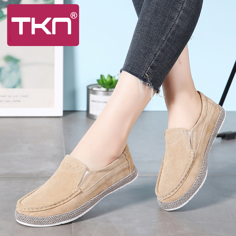 TKN 2019 Spring Women Oxford Shoes for Women Flats Shoes Ballerina Flats   Suede     Leather   Slip on Ballet Flats Loafers Shoes 582