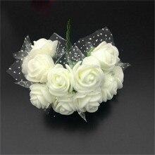 144pcs 2cm Small Artificial Roses Flowers DIY Home Wedding Scrapbooking Car Decoration Fake Rose Bouquet