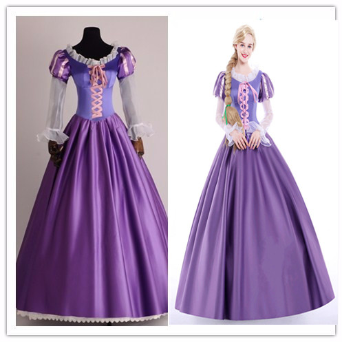 Tangled Rapunzel Cosplay Fancy Princess Dress Adult Costumes Halloween/Carnival Party Women's Dress Custom Any Size