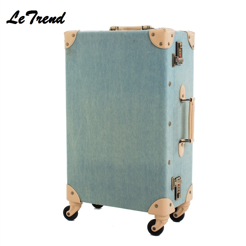 Fashion Vintage Suitcase Wheels PP+PU Leather Rolling Luggage Spinner Women Retro Trolley 24 inch Cabin Travel Bag Men Carry On