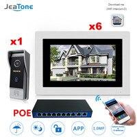 7 ''WI FI IP видео домофон Белл вилла Система контроля доступа Сенсорный экран обнаружения движения 1 до 6 с POE переключатель