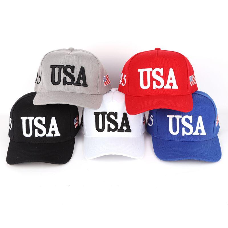 Unisex Outdoor Baseball Cap Trump 2020 Campaign Baseball Cap USA 45 American Flag 3D Embroidered Adjustable Snapback Hat