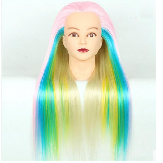 New StyleHair Mannequin Colorful Hair Mannequin Head For School Practise Hairstyling Professional Training Head