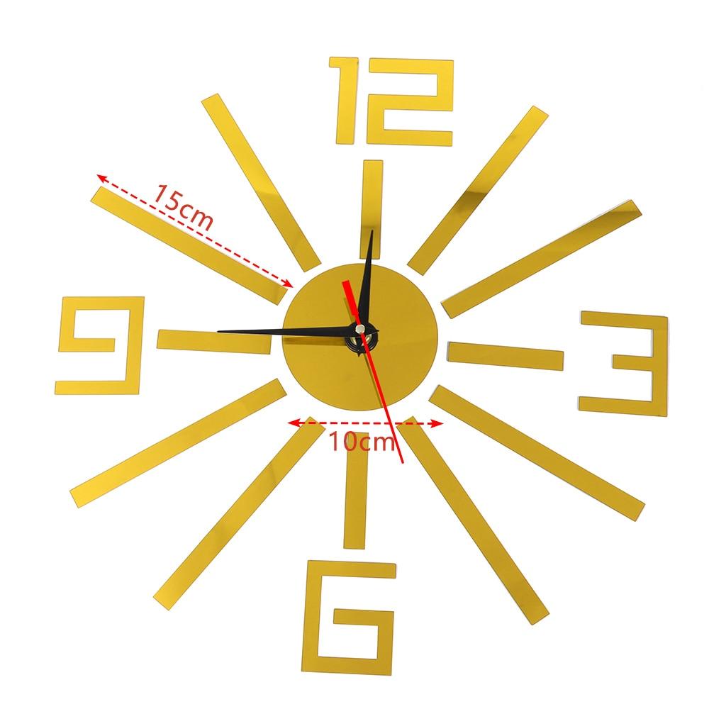 1Set Numbers Pattern Acrylic 3D Mirror Wall Sticker Clock Home Decor ...