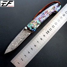 New Folding Blade Knife EF83 Colorful Handle Damascus Steel Tactical Survival Knife Outdoor Hand Tool EDC Fruit Knives все цены